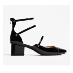 Zara TRF Mary Jane Sandals US 7.5 38 Black Heel